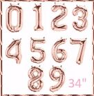 """34"""" Rose Gold Number 0-9 Balloons Birthday Party Wedding Photoshoot"""