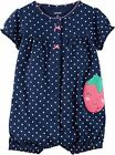 NWT CARTERS GIRLS snap-up creeper romper one-piece strawberry dots  u pick size