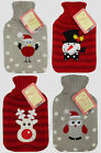 Xmas Christmas Warmers Hot Water Bottle Knittted Cover Snowman Reindeer Robin