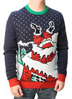 Ugly Christmas Sweater Men's Stuck Santa Light Up Pullover Sweatshirt