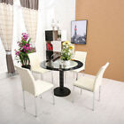 NEW Modern Design 4 X PU Leather Chairs & Glass Dinning Table Sets Chrome Legs