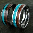 8mm Tungsten Men's Ring Black Turquoise & Koa Wood Wedding Band-Engraving Avail.