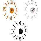 DIY 3D Wall Clock Mirror Sticker Metal Watches Roman Numeral Home Decor Surprise