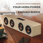 Hi-Fi 3D Loud Quad Speaker Wireless Bluetooth Wooden FM Stereo Radio Super Bass