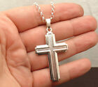 """2"""" Cross Round Rolo Chain Necklace Real Solid 925 Sterling Silver ALL LENGTHS"""