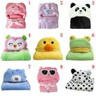 Cute Newborn Baby Soft Hoodie Blanket Bath Towel Kids Animal Pattern Bathrobe