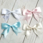10 Satin Ribbon pre-tied bows Baby Pink Blue White Ivory 80mm Wide 25mm Ribbon