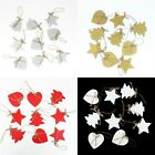9x Christmas Wooden Hanging Ornament Xmas Decoration Hearts Trees Stars 7-8cm