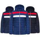 Men Quilted Padded Tommy Hil Striped Style Bubble Puffer Hooded Zip Jacket Coat