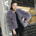 Luxury Womens Real Ostrich Fur Coat Ladies Turkey Feather Trench Jacket Outwear