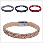 KELITCH Men Women Leather Cord Bracelet Woven Braided Strap Rope Bangle For Gift
