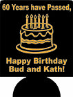 60th birthday koozies no minimum personalized can coolers quick ship