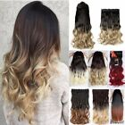 "Thick One Piece Full Head Ombre Clip in Curly Hair Extensions Like Human 23"" 25"""
