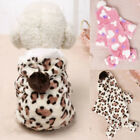 Fashion Leopard Style Winter Pet Dog Cat Clothes Hooded Jumpsuit Pajamas Outwear