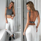 Sexy Women's Backless Stripe Vest Tank Crop Tops Blouses Sport Style T-shirt