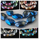 5pcs 20X32mm Faceted Glass Crystal Charms Flat Oval Loose Spacer Beads DIY