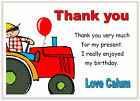 10 Personalised THANK YOU CARDS , thanks, boys birthday party RED TRACTOR farmer