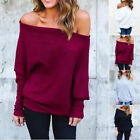 S-XXL Plus size Casual Off Shoulder Knit Sweaters Women Solid Pullover Outwear