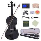 Acoustic 4/4 Electric Violin Ebony Fitted Natural Wood Black White with Case Kit