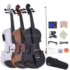 acoustic electric violin ebony fitted natural wood black or white size 4 4 gifts