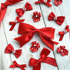 10 Christmas Red Satin Bows, Double Bow, Pearl Centre, Polka, Craft, Xmas Card