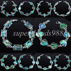 "Free shipping New Zealand Abalone Green Shell Oval Beads Gem Bracelet 7 "" SBK133"