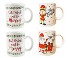 Christmas Mugs Set of 4 Festive Santa Elf Xmas Mugs Home Kitchen Tea Coffee Cups