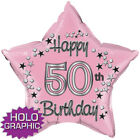 "50th Happy Birthday"" 22"" Star Shape Foil Balloon: PINK, BLUE & BLACK"
