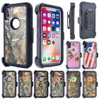 Tough Camouflage Armor Case Cover For iPhone X 10 (Clip Fits Otterbox Defender)