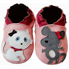 Free shipping Prewalker Crib Soft Sole Leather Baby Shoes Cat&Mouse Pink 0-5 yrs