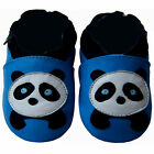 Free shipping Newborn Crib Soft Sole Leather Baby Shoes Panda Blue 0-5 years