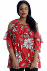 New Womens Plus Size Top Floral Print Ladies Cold Shoulder Tunic Frill Shirt