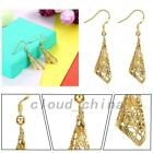 Ethnic Jewelry Gold Plated Pierced Hollow Out Drop Dangle Earrings Birthday Gift