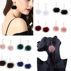 1 Pair Chic Women Fur Ball Pom pom Crystal Drop Dangle Stud Earrings Jewelry