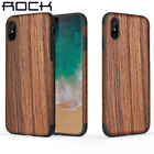 For Apple iPhone X 7 8 Plus ROCK Original Wooden Slim Fit Hybrid TPU Case Cover