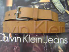 CALVIN KLEIN MEN'S EMBOSSED LOGO GUNMETAL ROLLER BUCKLE LEATHER BELT TAN