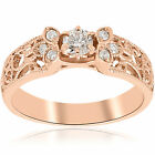 Solitaire Low Profile Ring Band Vintage 1/2 Ct Round Diamond Jewelry Rose Gold