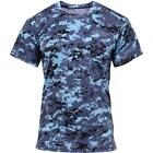 Digital Blue Camouflage - Military Style Performance T-Shirt