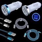 3.3FT Braided USB Cable + LED Car Charger for LG Stylo 2 3 Plus K20 X Power K10