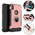 For iPhone X Ring Stand Hybrid Slim Case Cover + Tempered Glass Screen Protector