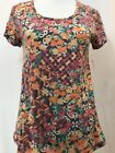 LuLaRoe Classic T XS Extra Small NWT Floral Heathered Stripes Red Paisley Mint