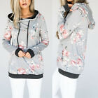 Mode Femmes Floral Hoodie Sweat À Capuchon Pull Casual Manteau Jumper Chaud Tops