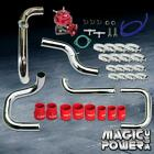 Chrome Intercooler Piping  + Red RS BOV  + Red Couplers Kit for 1992-1995 Civic