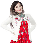 SOURPUSS Tree Trimming Cardigan Sweater Embroidered Vintage Ornaments Retro