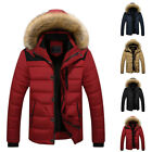 Fashion Men's Thick Padded Warm Down Jacket Parka Fur Collar Winter Hooded Coat