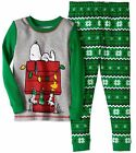 Peanuts Christmas Pajamas 2 Pc Snoopy Unisex Toddler 2T 3T 4T Fair Isle Green