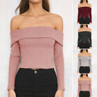 Women Lady Sexy Casual Fashion Long Sleeve Off Shoulder Solid Color Tops Blouse