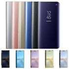 For Samsung Galaxy S8 Plus S7 Edge Clear View Mirror Leather Flip Stand Cover US