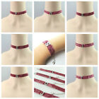 NEW ARRIVAL PINK GLITTER CHOKER & BRACELET WITH INITIAL DESIGN FOR ADULT
