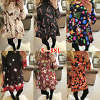 Long Sleeve Xmas Dresses Santa Gifts Snowman Christmas Plus Size Swing Dress4-18